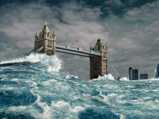 Затопленный цунами Лондон