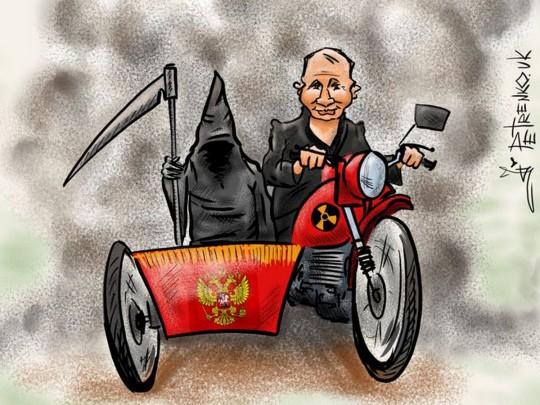 Карикатура Андрея Петренко на Путина-мотоциклиста