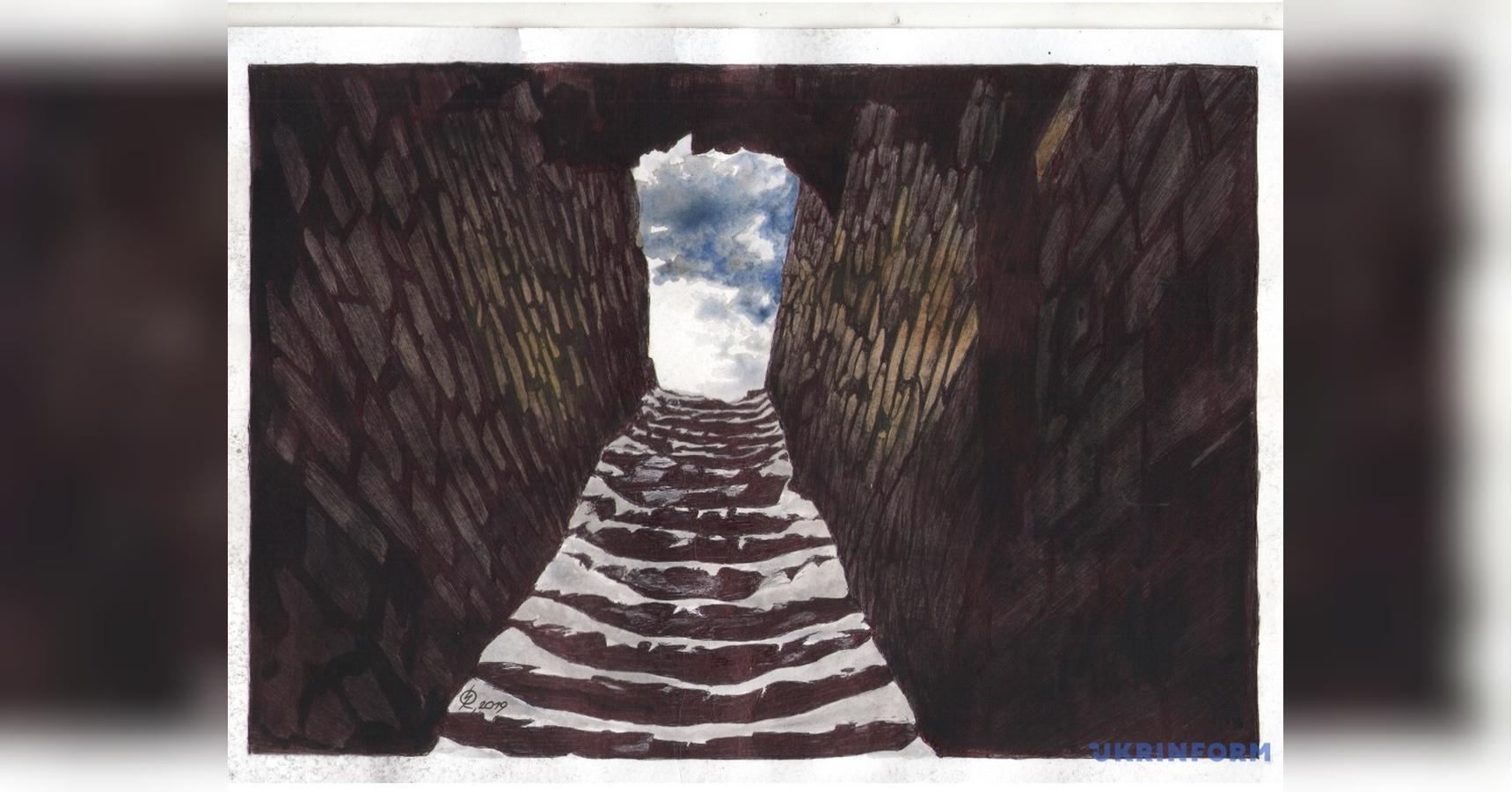 Небо в каменном проеме: Сущенко новым рисунком показал атмосферу в рос