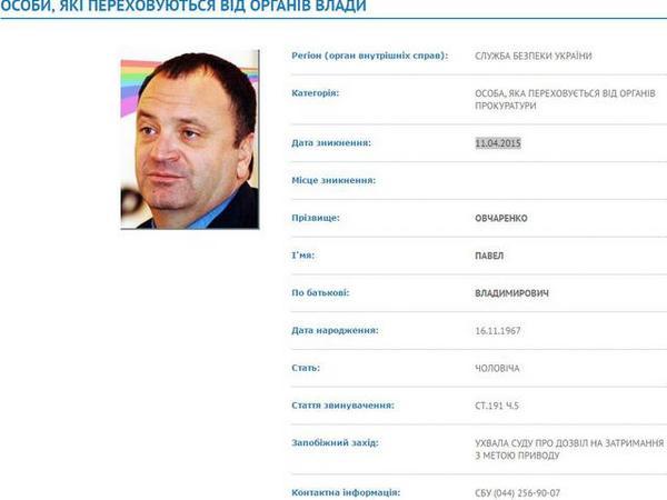 СБУ объявила врозыск руководителя «Укртатнафты» Овчаренко