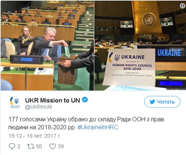 Украина натри года избрана членом Совета ООН поправам человека