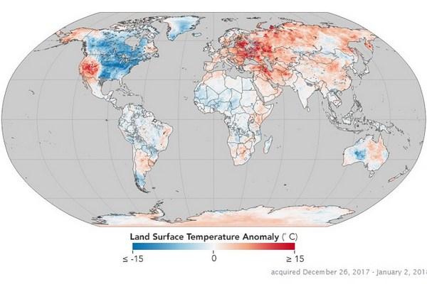 Аномально теплая зима вгосударстве Украина: размещена карта температур вовсех странах мира
